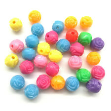 Mixed 50pcs Rose Flower Acrylic Charms Loose Beads Kid Jewelry DIY Accessories
