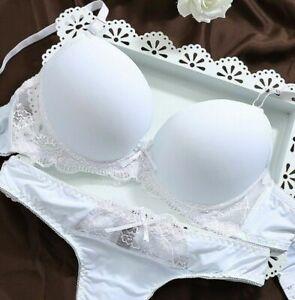 UK Size Lingerie Underwear  Womens Sexy Lace Padded Plunge Bra Set 346840B-C-D-E