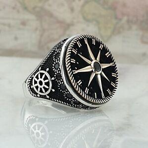Sterling Silber Mens Ring Schwarz Onyx North Star Handgefertigt Ottomane Größe