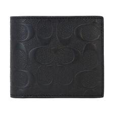 NWT COACH Mens Compact Wallet Bi Fold Insert Signature Leather Bill F75371 BLK