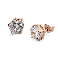 BRAND NEW 18K ROSE GOLD PLATED CLEAR SOLITAIRE CUBIC ZIRCONIA STUD EARRINGS
