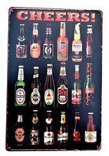 Birre DEL MONDO DESIGN 2 in metallo latta segni VINTAGE CAFE PUB BAR ARREDAMENTO Garage