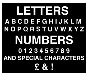 75mm BLACK / WHITE SELF ADHESIVE STICK ON VINYL NUMBERS & LETTERS HOUSE BIN ETC