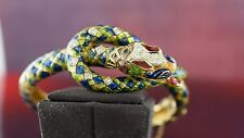 18k Yellow gold DIAMOND SNAKE BANGLE BRACELET ENAMEL GREEN BLUE RED MULTI