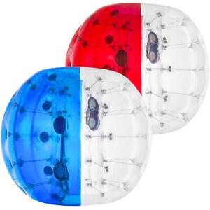 2pcs 1.5M Bubble Football Bulle Gonflable Géante PVC Bumper Ball en Rouge /Bleu
