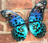 Large 35cm Blue and Green metal Butterfly garden ornament wall art decoration