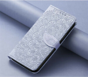 For iPhone 13 12 11 Pro Max XS Leather Wallet Flower Leaf Case Screen Protection