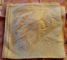 Vintage Ladies Handkerchief Pink Hibiscus Embroidered Cotton Hong Kong