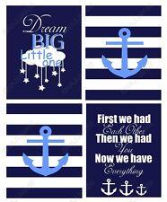 Nursery Baby Decor 8x10 Wall Art Print Lot (Set of 4) Navy Blue Nautical Anchors