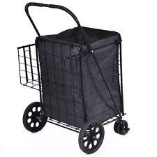 Klappbarer Einkaufswagen Jumbo schwenkbare Räder extra Korb Trolley Grocery Wäsche