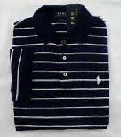 NWT Ralph Lauren SS Soft-Touch Navy Striped Pima Interlock Polo Shirt Small NEW