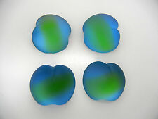 4 VINTAGE West German hand made cabochons 20mm Apple blue/green Frosted #22 ii
