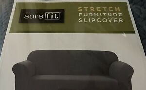 """NEW Sure Fit Stretch Loveseat Slipcover - Gray Storm Blue 60""""-70""""Free Shipping!"""