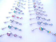 Lot100pcs Dangle 14 G Nombril Anneaux Belly bars nombril bouton Haltères Mix Logos Hot