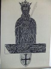 Brass rubbing WIMBORNE MINSTER, DORSET. KING ETHELRED 871 engraved 1440 .. 13B/1