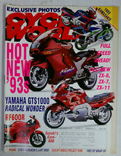 CYCLE WORLD MAGAZINE BACK ISSUE HARLEY HONDA 1992 DECEMBER NINJA  GTS1000 RF600R