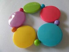 SUMMER FUNKY CHUNKY MULTI COLOUR DISC STRETCH BRACELET new voile pouch