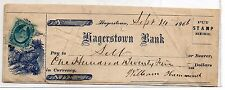1866 HAGERSTOWN BANK in MARYLAND - PERSONAL CHECK from WILLIAM HAMMOND
