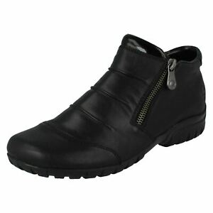 LADIES RIEKER BLACK  WIDE FITTING ANKLE BOOT L4671-00