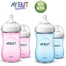 Avent Natural Bottle 2 x Anti-Colic Baby Milk Feeding & Teats 260ml Pink / Blue