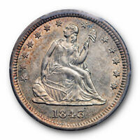 1843 25C Seated Liberty Quarter PCGS AU 55 About Uncirculated Sharp