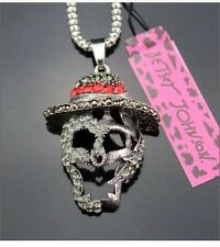 Betsey Johnson Necklace SKULL SILVER Rock Style Goth Biker HALLOWEEN