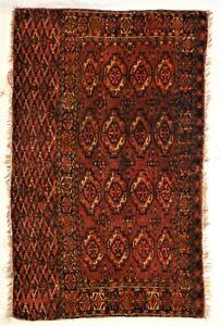 "Antique Tekke Turkoman-Turkmen Hand Knotted Wool Rug. 46""x 28"""