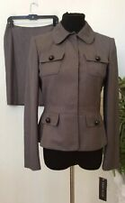 NWT Anne Klein Women Military Style Taupe Gray 2 Piece Skirt Suit Sz 4 MRSP $320