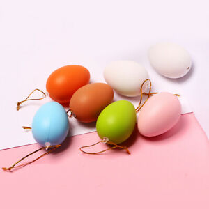 12pcs Easter Eggs Plastic Egg Painting DIY Decor Kids Toys Party Hanging Gift