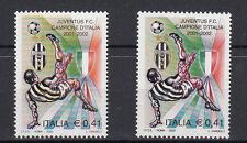 CALCIO JUVENTUS 2002 VARIETA MAGLIA GIALLONERA NO BIANCONERA MNH** STAMPA MOSSA