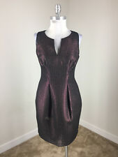 Phoebe S 6 Purple Black Metallic Sheath dress Cocktail Formal Lace EUC