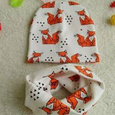 Spring Autumn Baby Beanie Hats Cartoon Print Toddler Infant Cotton Cap Scarf Set