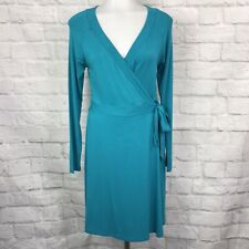 Tart Collection Women's Small Wrap Dress Teal Blue Long Sleeve
