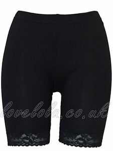 Womens Cycling Shorts Ladies Lace Trim Cycle Shorts Stretch Leggings Black