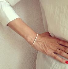 Hot Sale Women's White Pearl Beads Beading Bracelet Golden Chain Bangle Gift