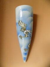 "Antique Blue White Asian Chinese Export Porcelain DRAGON  Wall Pocket Vase  13"""