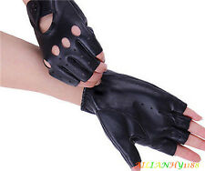 1 Pair Black Punk Half Finger Driving Gloves PU Leather Fingerless Gloves Women