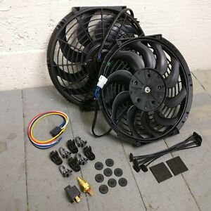 """1936-53 Chevy Dual 12"""" Fixed Temp S-Blade Cooling Fans Deluxe Blue Flame Master"""