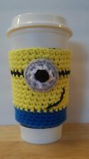 HANDMADE CROCHET DESPICABLE ME MINION COFFEE CUP COZY | CUP SLEEVE