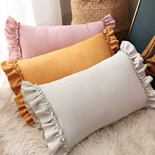 Suede Cushion Case Ruffle Frill Pillowcase Cover Soft Lolita Princess Room Decor