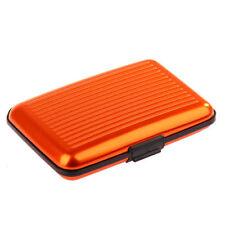 Orange imperméable Crédit Carte De Visite Portefeuille support métal de permis de conduire Case