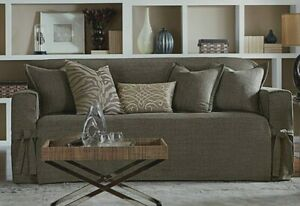 NEW Sure fit Sofa size textured linen slate gray Slipcover washable polyester