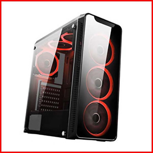 CiT Blaze PC Gaming Case, Mid-Tower ATX, 6 Halo Single-Ring Red LED Fans, Glass,