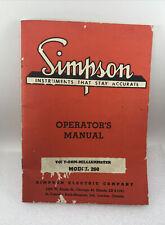 1 Vintage 1955 Simpson 260 Volt Ohm Milliammeter Operators Manual 44 Pages