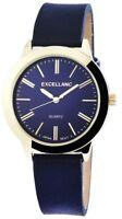 Excellanc Damenuhr Blau Gold Analog Metall Kunst-Leder Armbanduhr X195203000027
