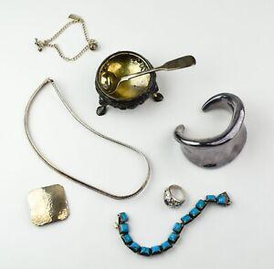 Sterling Lot: Bracelets, Ring, Necklace, More  - NO RESERVE 193g Not Scrap JT19