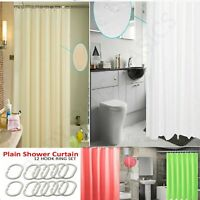 SHOWER CURTAIN BATHROOM WATERPROOF W 12 HOOKS RING LONG CURTAINS PLAIN 180x180CM