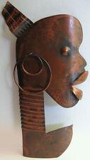 Rebajes Vintage Cobre Africano Ubangi Busto Tribal Adorno Pared