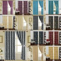 Jacquard Eyelet Ring Top Curtains Fully Lined + 2 TieBacks, 1 Cushion Cover Free