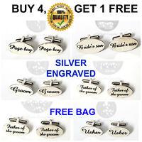 Silver Engraved Custom Cufflinks CuffLinks Gift Wedding Personalised Best Man uk
